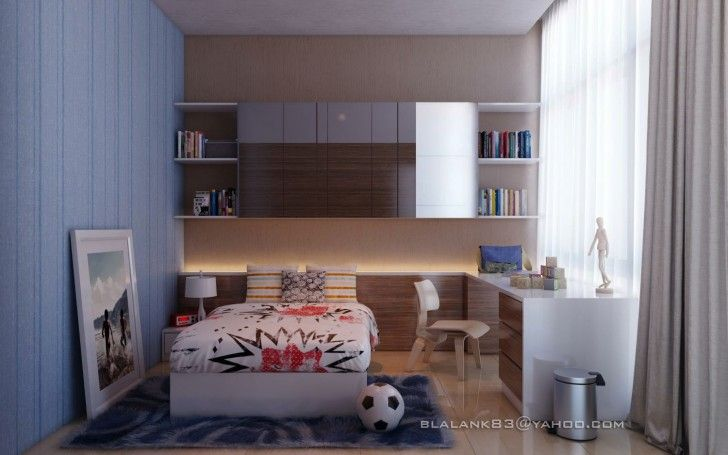 Bedroom, Large Photo Modern Brown Blue Kids Boys Room Carpet Wooden Floor Chair Table Bookshelves Books Table Lamp Night Stand Table Ball White Platform Bed Pillows Blanket Bed Grey Curtain And Rubbish Box ~ Beautiful Teenage Room As Well As Possible