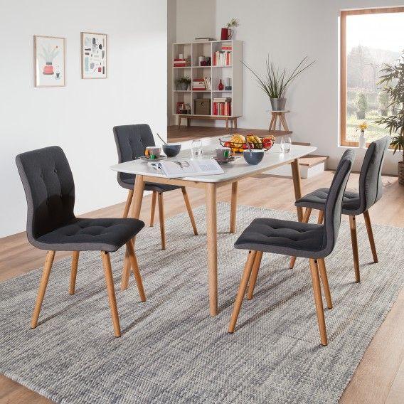 Gestoffeerde stoelen Kaja I (2-delige set) - vilt/massief eikenhout | home24.nl