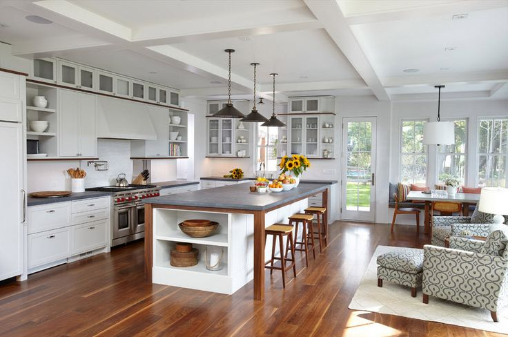Exclusive beach style kitchen interior design pictures. Interesting decor for the floor, walls and ceiling. Marine kitchen: lighting, zoning, furniture.