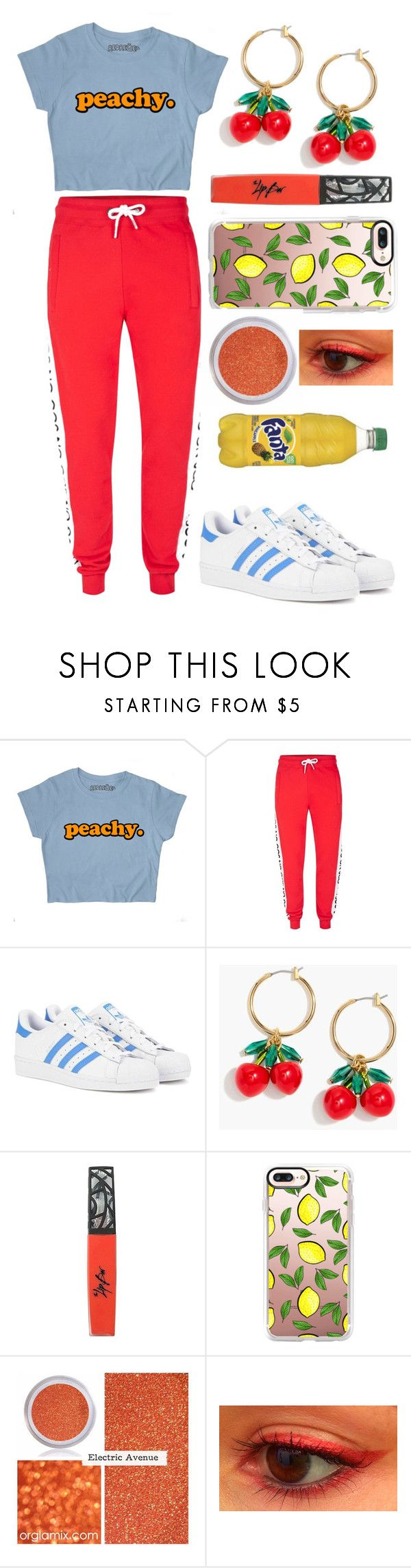 """""""Peachy."""" by peachywaffhles ❤ liked on Polyvore featuring Topman, adidas Originals, J.Crew, The Lip Bar and Casetify"""