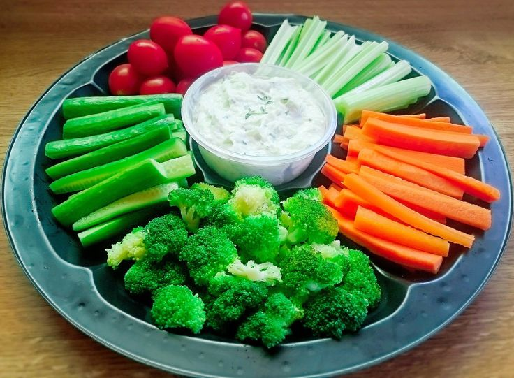 This Cradite platter perfect for a healthy option, accompanied by a Tzitiki Dip