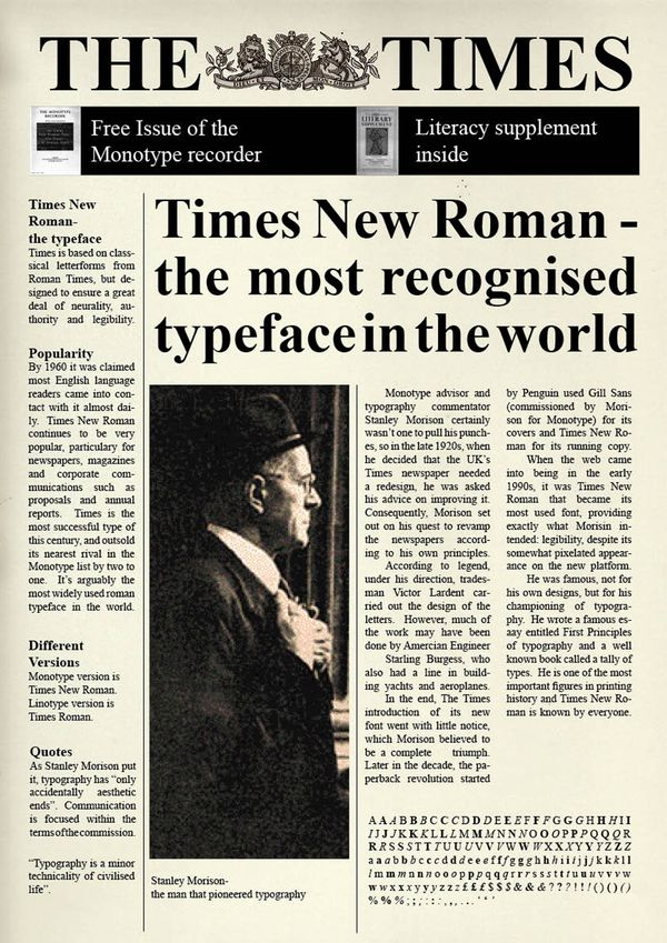 typography and times new roman 타이포그래피(typography) : 타임스 뉴 로만(times new roman) times new roman is a serif typeface commissioned by the british newspaper the times in 1931, created by.
