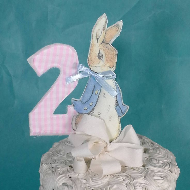 Shabby Chic Peter Rabbit cake topper, two fabric Peter Rabbit 2nd ...