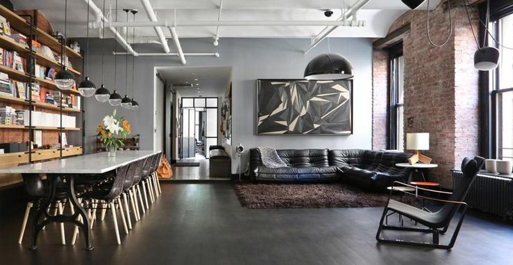 Salone Stile Moderno Con Parquet E Vetrate Internal Design : Un loft a manhattan new york con interni in stile