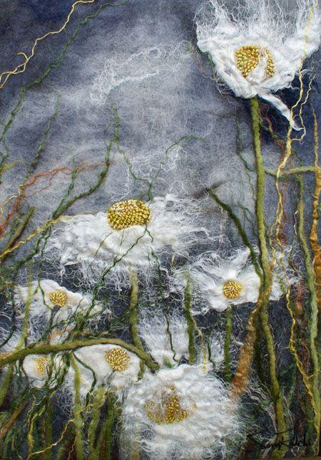 "Daisies III, series, 16""w x 22""h ... Hand dyed merino wool, silk, linen,hemp, mohair, black walnut frame ... Rahola | Drdul | Gallery"