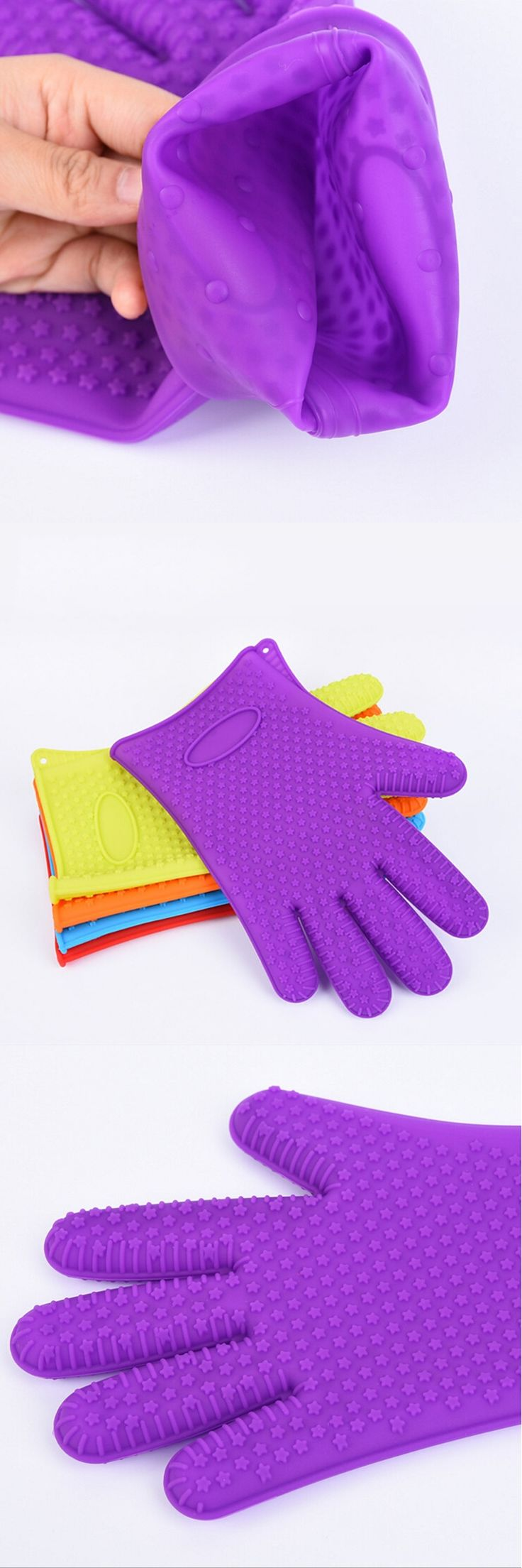 Blue Silicone Cotton Gloves Anti-hot Microwave  Insulated Gloves Beautiful Non-slip Rubber Silicone Glove Kitchen Supply
