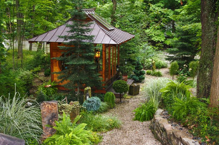 Would love this is a meditation room in the garden! Asian Landscape by Miriam's River House Designs, LLC