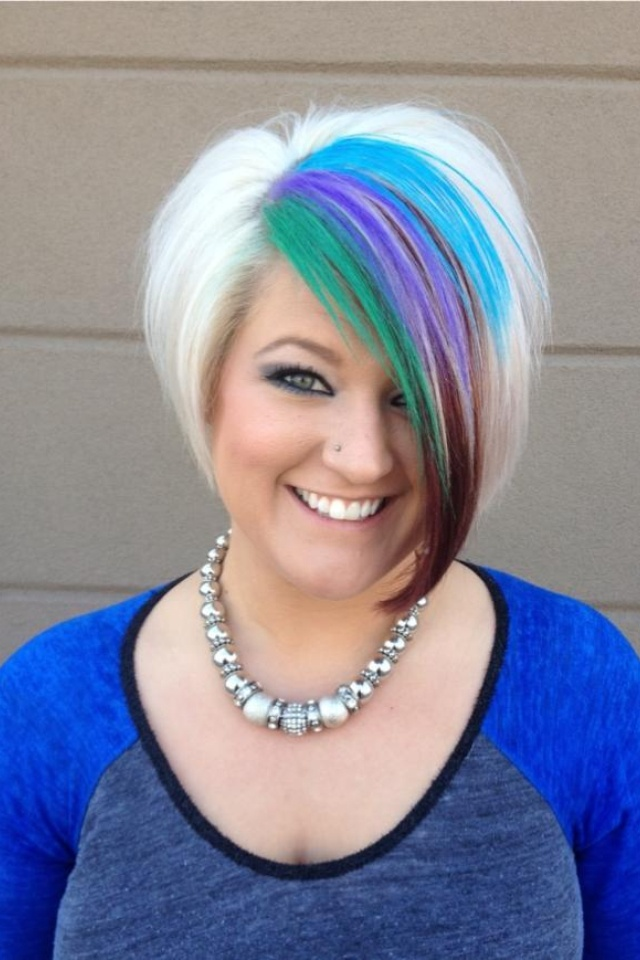 Green purple and blue peacock hair. Platinum blonde ...