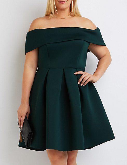 Plus Size Off-The-Shoulder Scuba Dress