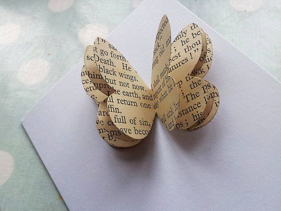 Vintage Fairytales Handmade 3D Butterfly Card, perfect Valentine's Day card for a nature lover. Handmade from a vintage children's book by ellabetsyboo