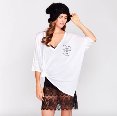 WILDFOX FORGIVE ME WHITE OVERSIZED T-SHIRT