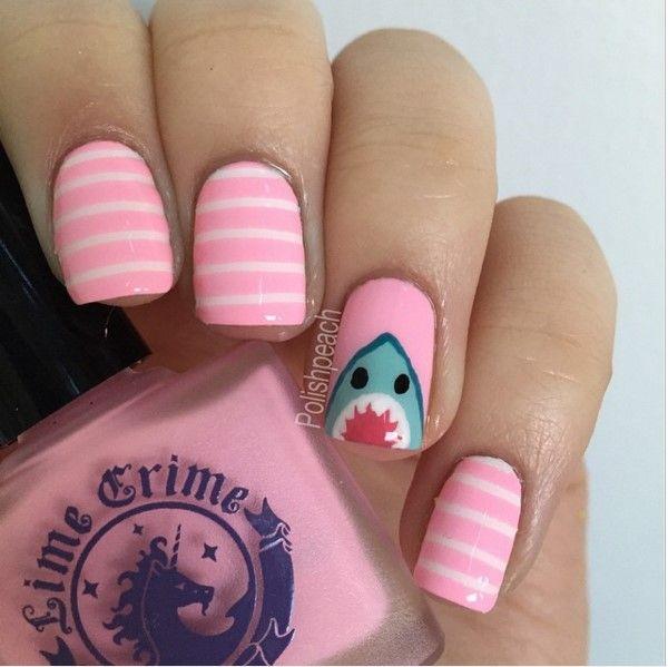 Save Shark pink nail design