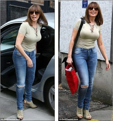 Carol Vorderman shows off her curves in super tight fitting jeans and military T-shirt ~ celebs news