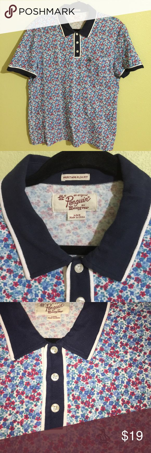 Penguin Polo Shirt Collar - Sz L Slim Fit, Floral Penguin Floral Polo Collar Shirt | Size: L (Slim fit, but fits more like a medium) | Condition: Pre-Owned 8/10 (Great condition! Regular wear, only flaw is staining/smudging on the bottom back of the shirt as pictured) | Reasonable offers are welcome! Original Penguin Shirts Polos