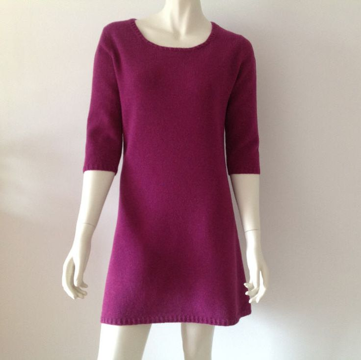 Pink woolen dress  with three quarter set in sleeves size 36-38 - pinned by pin4etsy.com