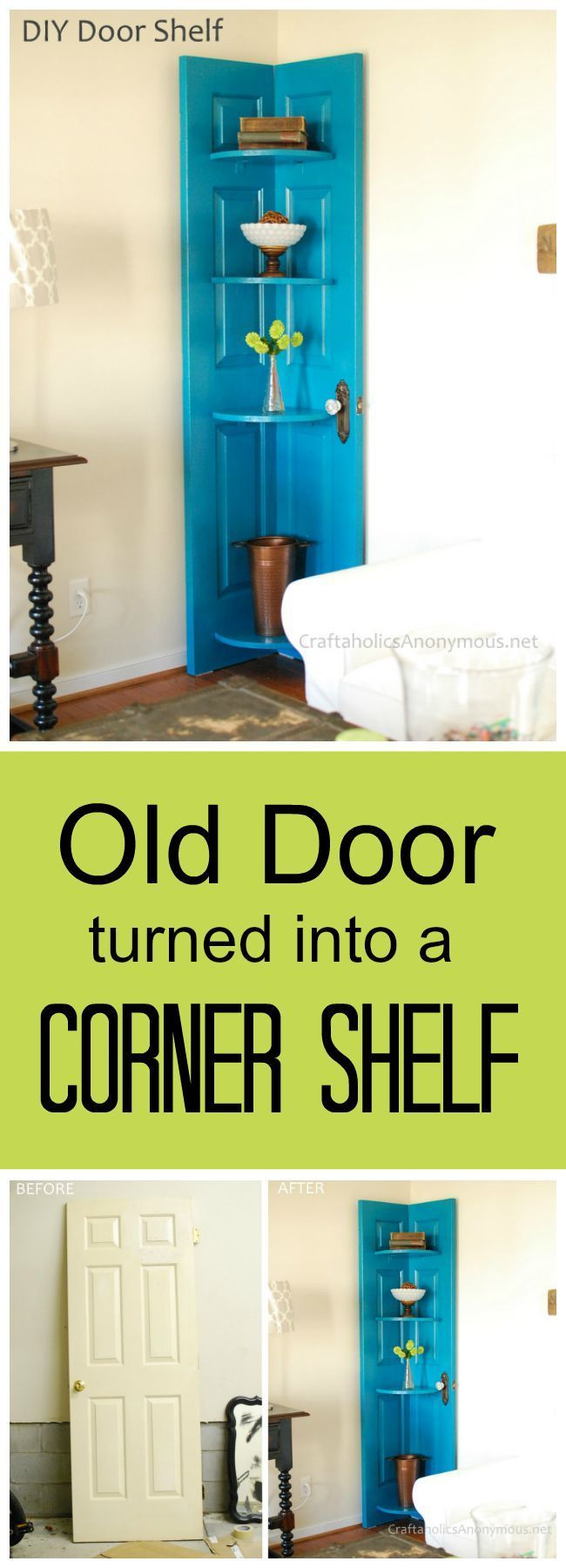 DIY Door Corner Shelf tutorial :: How to turn a door into a DIY corner shelf. Great way to use those hard to decorate corners + it makes cool home decor! (Cool Crafts For Your Room)