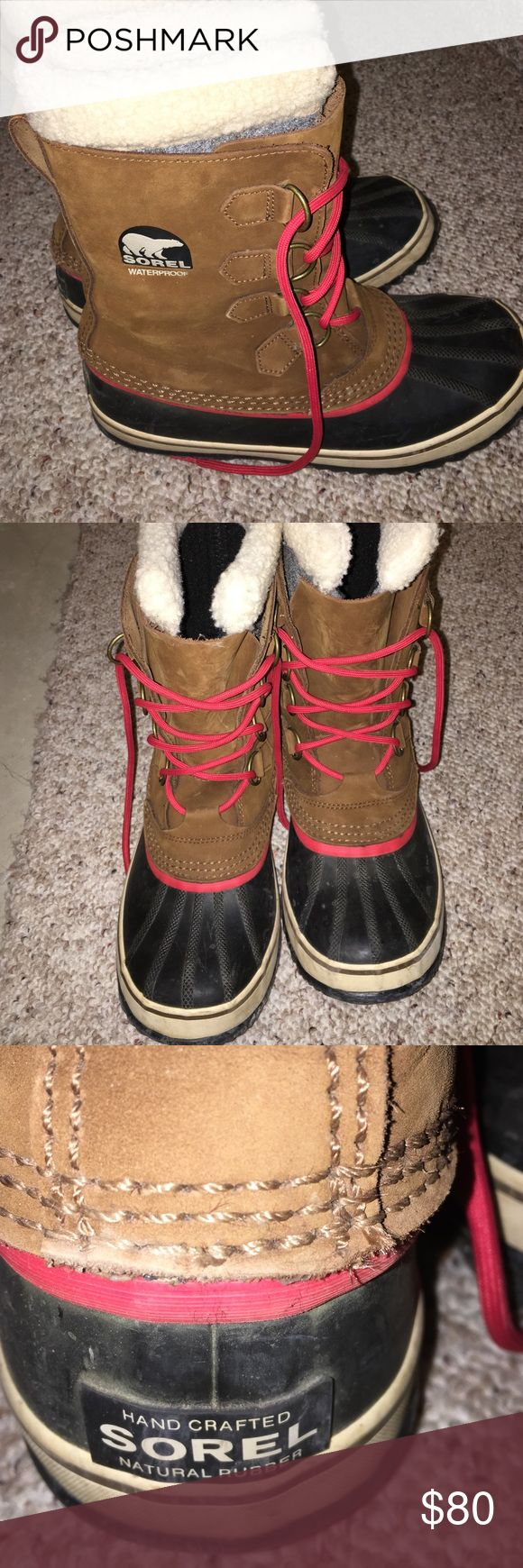 Sorel winter boots Brown with red lace Sorel Shoes Winter & Rain Boots