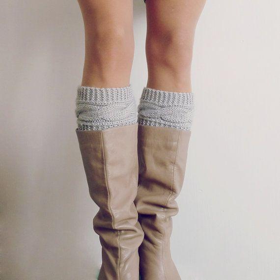 Boot socks pattern Boho Knits - Boot Cuffs, leg warmers PDF Knitting Pattern - cable fall knits accessories PHOTO tutorial. $5.00, via Etsy.