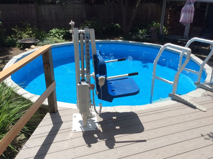 The Amramp Boston team installed this pool lift in Peabody, MA to provide the homeowner with easy access to her pool for therapy.