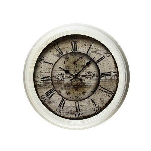 Adeco 1819 Large Off White Parchment AntiqueLook Dial Chateau Laurent Decorative Retro Vintage Traditional Wall Hanging Circle Iron Clock Roman Numerals Numbers Silent Battery Quartz Off White Home Office Decor Black