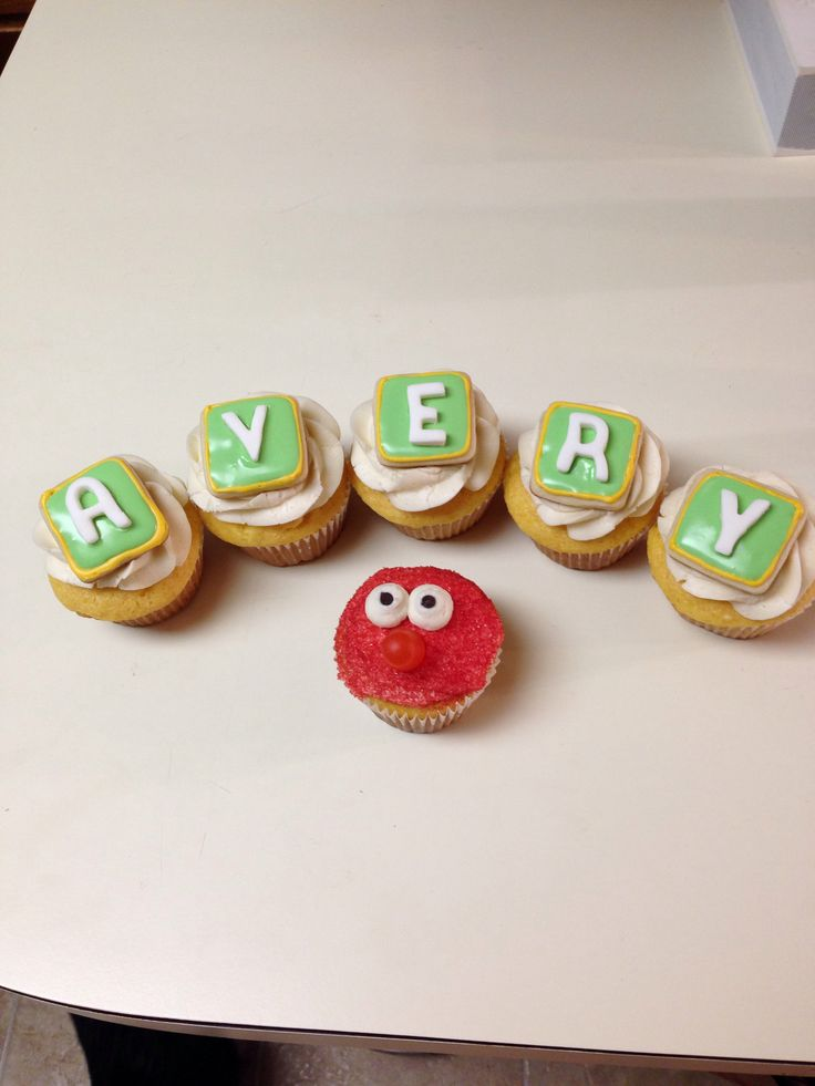 icing. Letters are vanilla fondant. Elmo: vanilla cupcake with vanilla ...