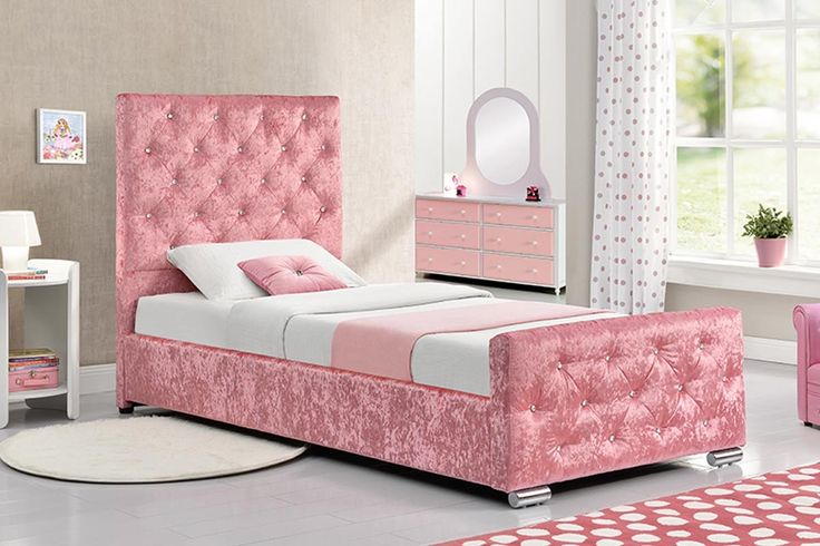 Beaumont Princess Crushed Pink Velvet Fabric Single Storage Bed