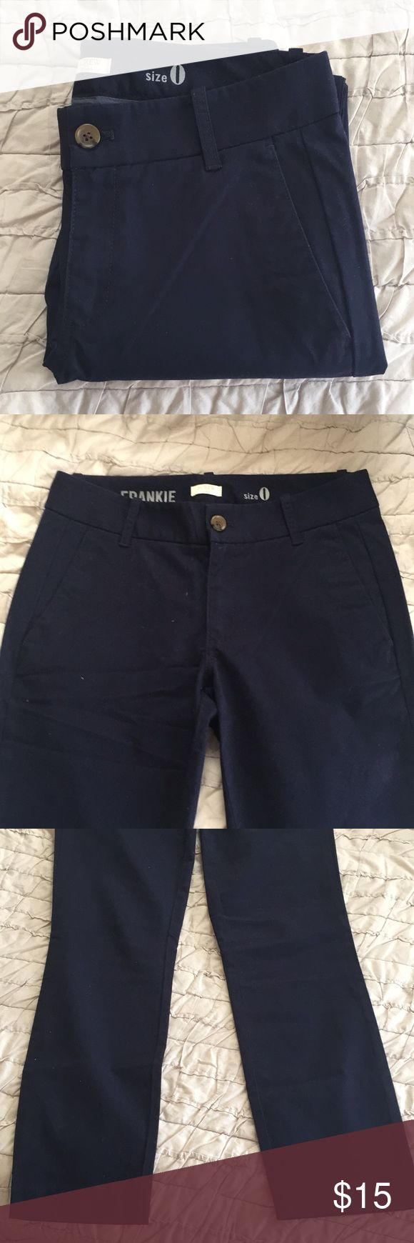 """NWOT J. Crew Frankie Chinos New without tags navy Frankie, skinny chino pants from j.crew. I bought these less then a year ago and haven't worn them. For reference, I'm about 5'4"""" and these pants are ankle length on me. They are super comfortable but just need to go to someone who will wear them! Please note the creases are just from being folded in my dresser. J. Crew Pants"""