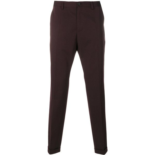 Dolce & Gabbana slim-fit trousers (825 CAD) ❤ liked on Polyvore featuring men's fashion, men's clothing, men's pants, men's casual pants, red, mens cuffed pants, mens red pants, dolce gabbana mens pants, mens formal pants and mens slim pants