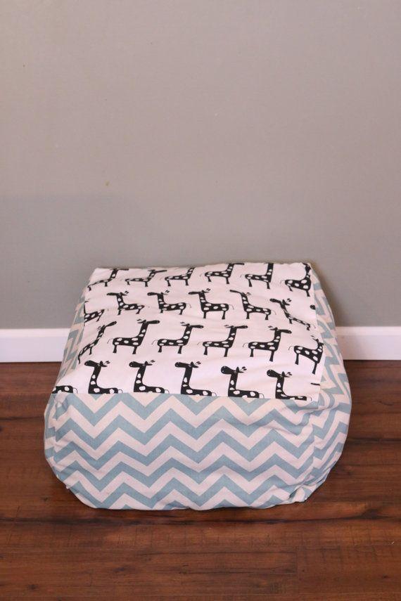 Unfilled Giraffe Aqua Chevron Bean Bag Chair By EverbellemKids Etsy