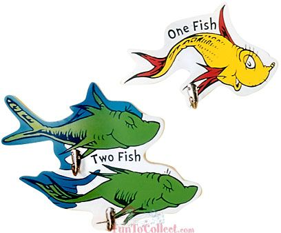 Cat in the hat fish dr seuss one fish two fish wall for Fish from cat in the hat