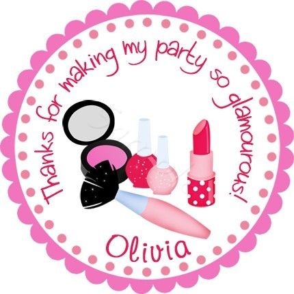 It's A Makeover Party! Personalized stickers by partyINK.