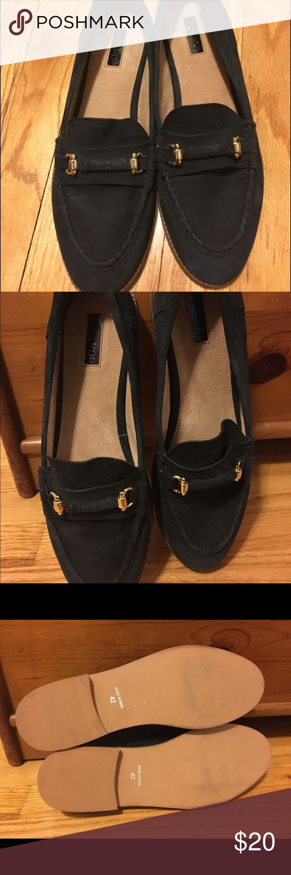NWOT Topshop black suede loafers sz 42 NWOT snappy Topshop black loafers -- never worn, only tried on in store! Sz 42 (these fit a size 10-11). Gold accent hardware. Topshop Shoes Flats & Loafers