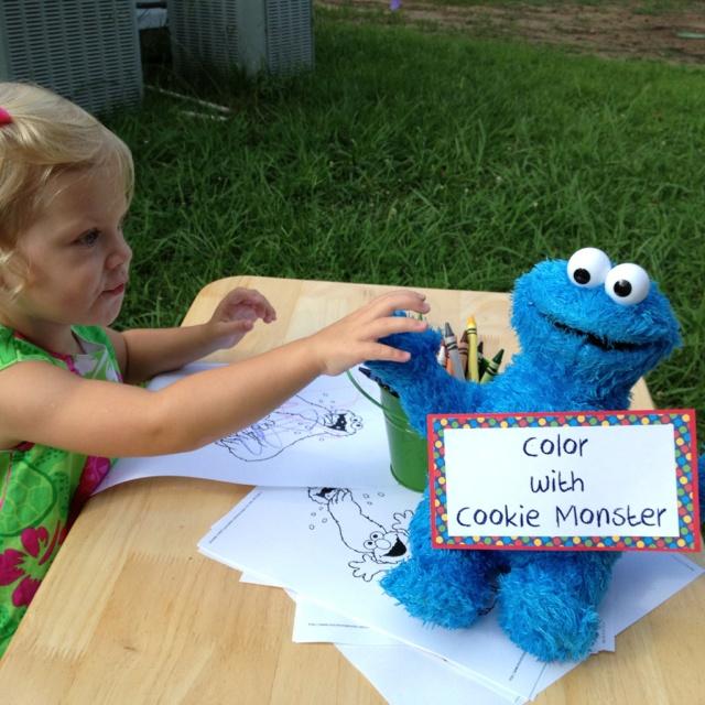 Sesame Street Party Games: Color with Cookie Monster.                                                                                                                                                                                 More
