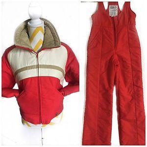 Vintage 1970s Ski Suit Profile by Hertha Amen jacket & Snow Pants Red Beige S/M