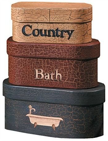 Product Description: This is a fun little decoration perfect for any country style bathroom. This is a set of 3 nesting boxes that have a crackle or distressed finish to add to the country or primi…