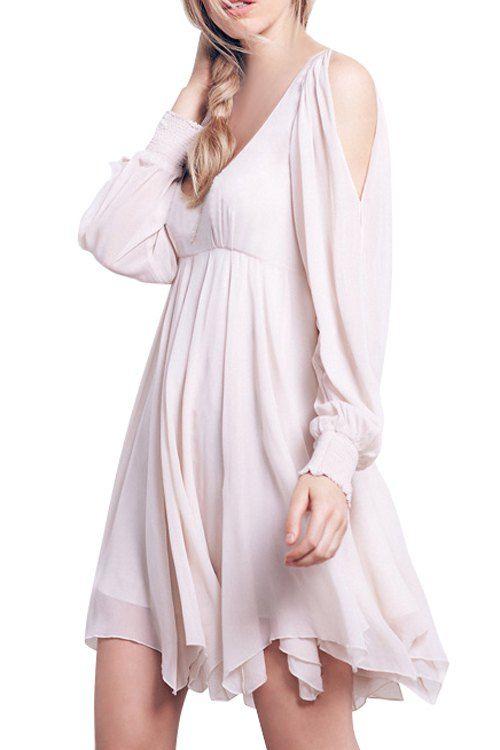Hollow Scoop Neck Long Sleeve Chiffon Dress