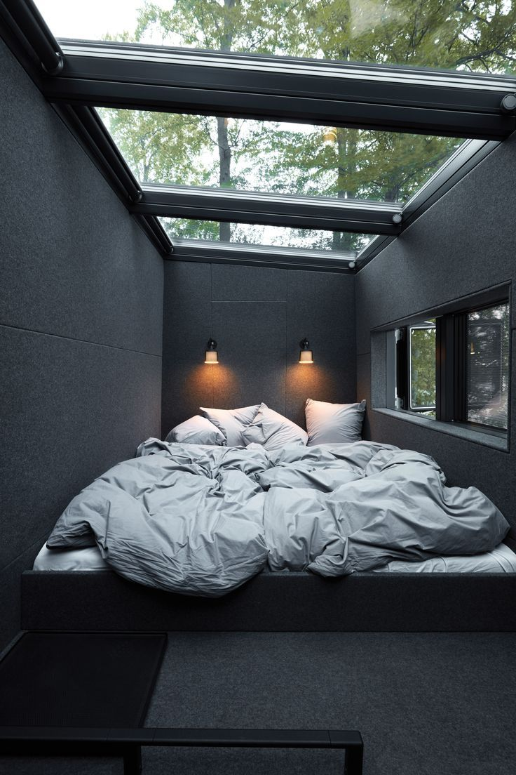 Bedroom with dark gray wall
