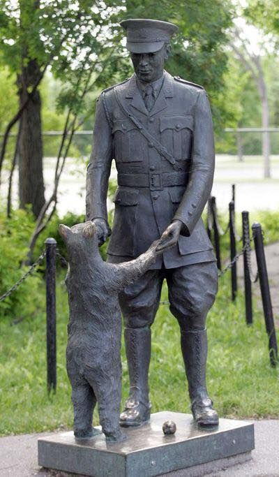 This statue, by artist William Epp, commemorates the story of Winnipeg's Lt. Colebourn, who found a bear in White River ON while on his way to fight in WW1. While overseas he donated the bear to the London Zoo where author A. A. Milne took his son Christopher Robin to see it and then used it as the inspiration for his stories about Winnie the Pooh. The statue of Winnie the Bear and Lt. Harry Colebourn has graced the Assiniboine Park Zoo since 1992, is now in the park's Nature Playground.