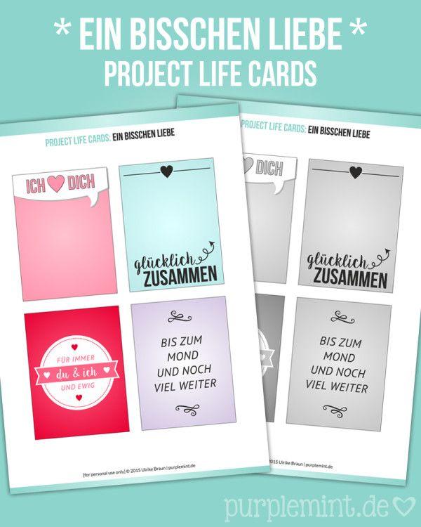 """Project Life Cards - Ein bisschen Liebe deutsch. 3x4"""" - bunt & grau"""