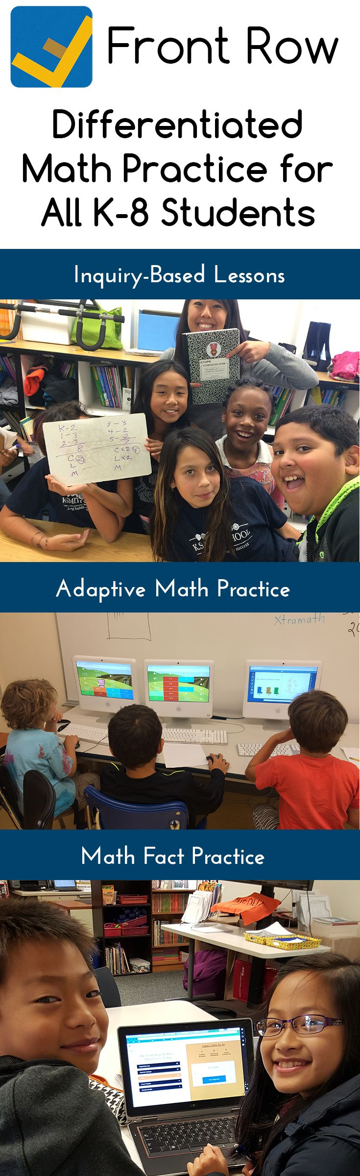 Front Row's personalized and adaptive math platform will help you differentiate learning for all learners in your classroom. Your students will love it! #differentiation. And it's free!  www.frontrowed.com