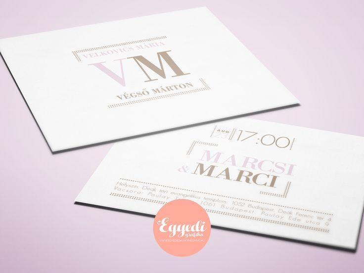 Elegáns, modern, egyszerű esküvői meghívó halvány rózsaszín és tejeskávé színben | Elegant, modern and simple wedding invitation