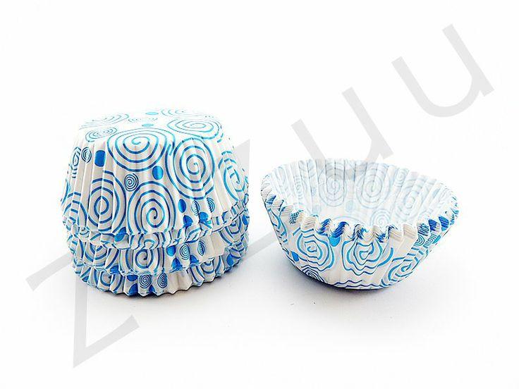 150 pirottini tondi a spirali azzurre con base 50mm #pirottini #ZiZuu