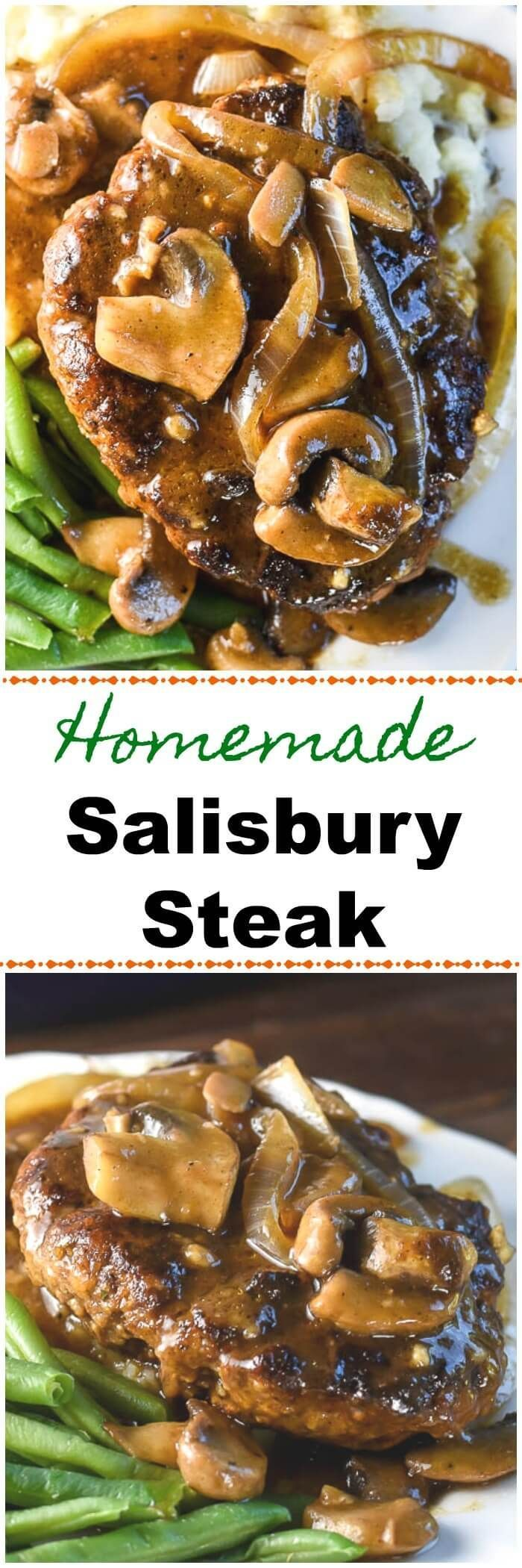 This homemadeSalisbury Steakis a ground beef patty with onions, mushrooms, and a brown Salisbury Steak gravy, and is pure comfort food. Serve with mashed potatoes and green beans or peas and you have a fantastic family dinner.