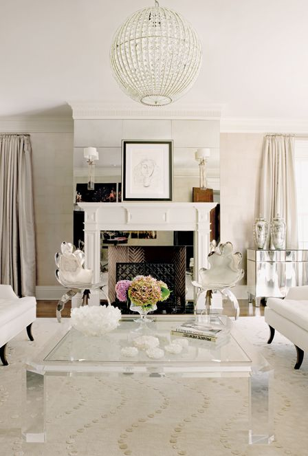 Great white room: Mirror, Decor, White Living Rooms, Lucite Coffee Tables, Home Interiors, Fireplaces, Interiors Design, White Rooms, Memorial Tables
