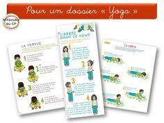 Très belles fiches de yoga pour les enfants, téléchargeables gratuitement sur le site de Pom d'Api. Super pour se faire un beau dossier bien illustré ! J'ai adopté ;-)