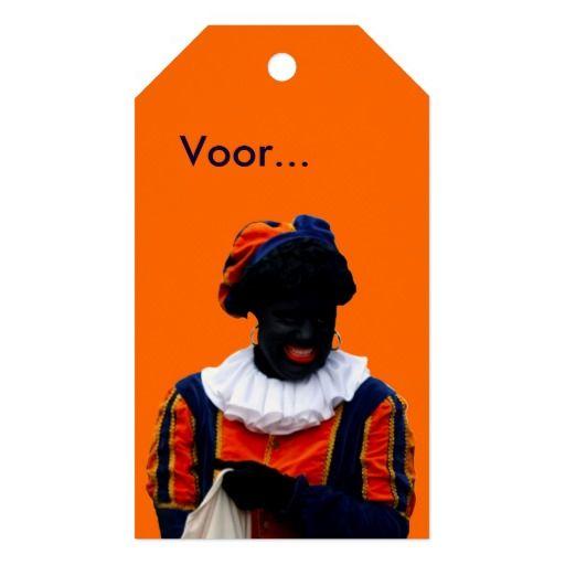Cadeau Label Oranje met Zwarte Piet (en eigen tekst).