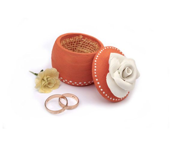 Orange white Wedding ring Box with Rose Keepsake Tooth by PilipArt, $24.00