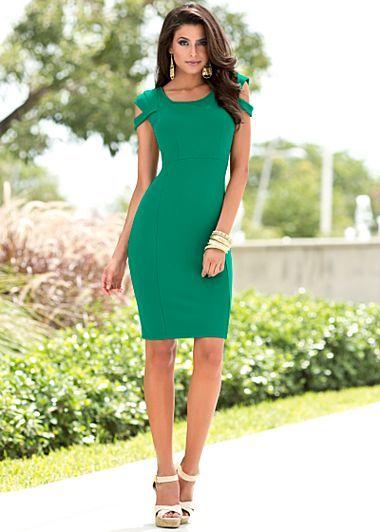 Green sleeve detailed dress