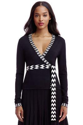 DVF Ballerina Embellished Trim Wrap Sweater in black/ natural