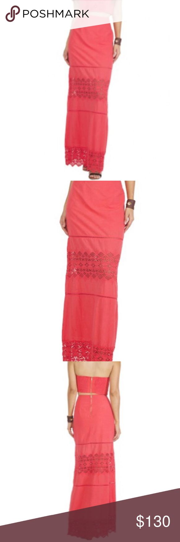 🆕 Nightcap - Diamond Lace Maxi Skirt - Guava/Red 🆕 Nightcap - Diamond Lace Maxi Skirt - Color: Guava/Red - Size: 1/Small. From Shopplanetblue.com. BRAND NEW / NEVER  WORN / WITH TAG. Bundle two items for 10% off. Offers Welcome :) Nightcap Skirts Maxi